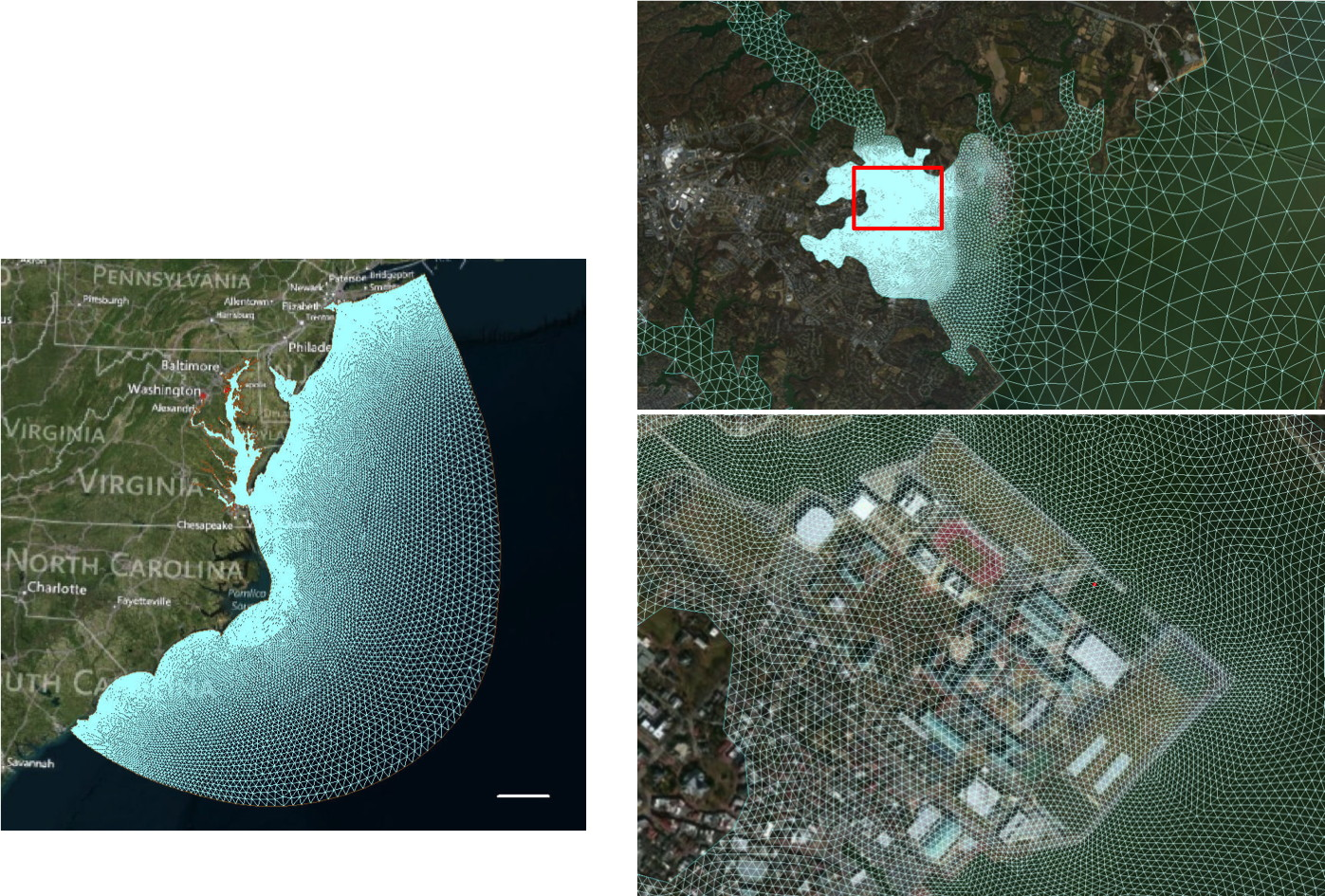High resolution nested 3D coastal storm surge model to explore storm surge scenarios, in collaboration with PNNL's Marine Sciences Laboratory in Sequim, WA.